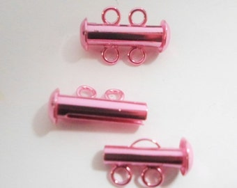 SALE: Electroplated Pink Clasp, 2-strand slide lock for jewelry making supplies and findings