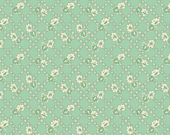1930's reproduction fabric, green lattice design by Kay England.