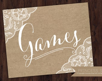 Games Sign, Burlap Wedding, 8x10 Wedding Sign, Games Printable, Game Table Sign