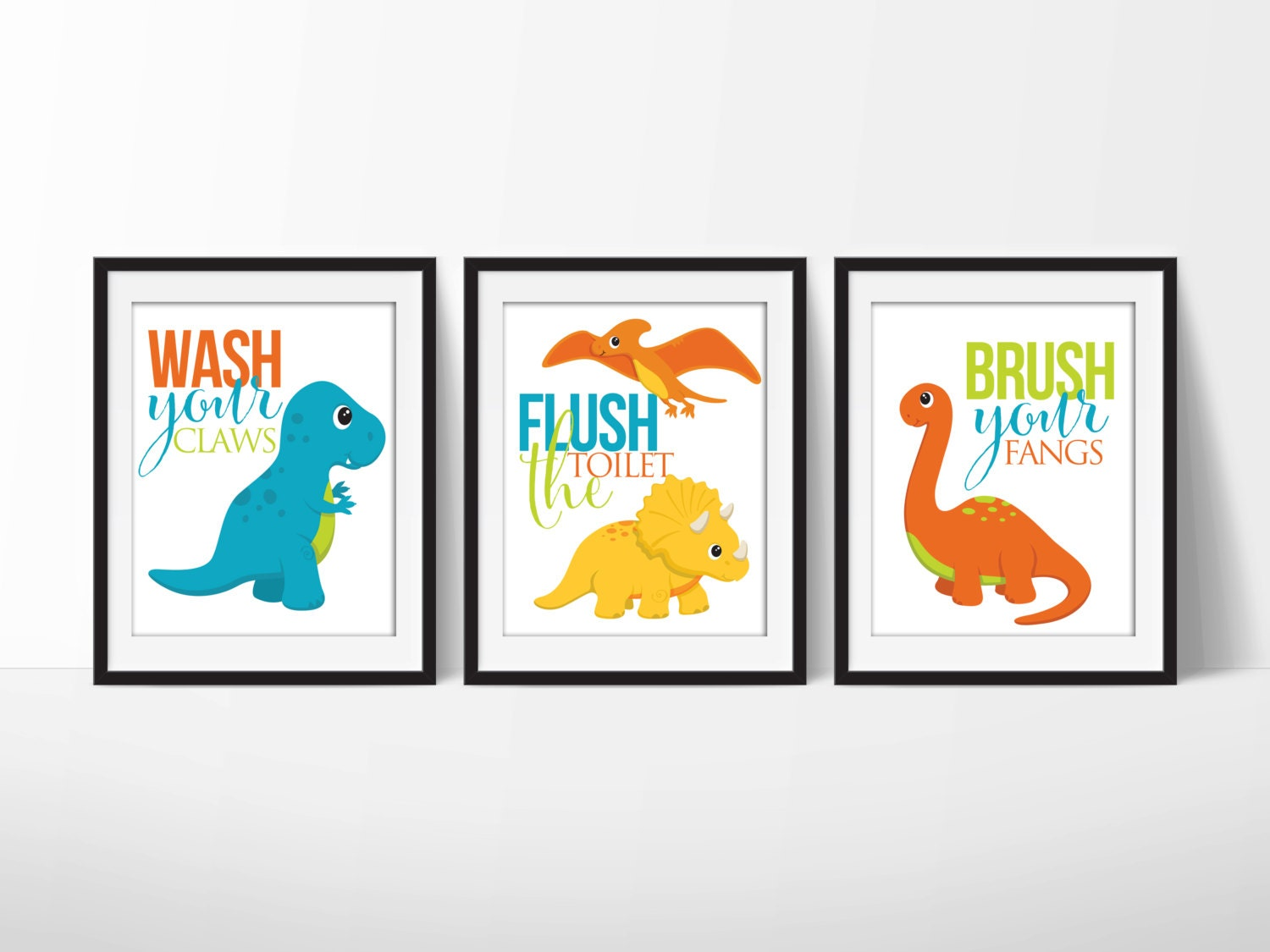 Dinosaur Bathroom Signs 8x10 Prints Downloadable Art Set Of