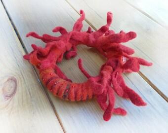 Red Сoral Felt  bracelet,  Felt Jewelry, Beads