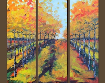"""Vineyard Vines Art, Vineyard Painting, 36"""", Large Wall Canvas Art, MADE TO ORDER, Wine Country, Napa Valley California Landscape Artwork"""