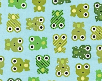 Green Frog Fabric  - Urban Zoologie by Ann Kelle from Robert Kaufman. Frogs on Sky Blue. 100% cotton. AAK-14724-63 SKY