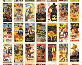 Vintage Western Movie Posters 1X2 Domino Sized print out digital sheet.