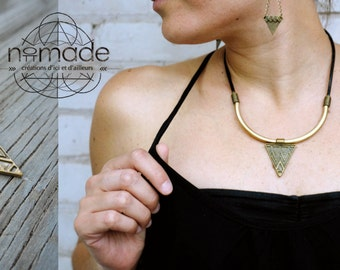 Bronze triangle necklace.
