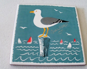 Sanchis Azulejos Made In Spain Tile Painting Of Sea Gull Guilford CT