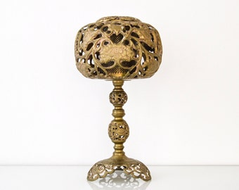brass table lamp, antique table lamp, floral table lamp, stunning antique brass table lamp w/ ornate metal cutwork & pattern emitting light