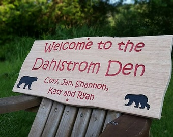 "Campsite, Camping or Cabin sign. Personalized wooden carved made from red cedar or oak 11"" Tall x 23"" Wide"
