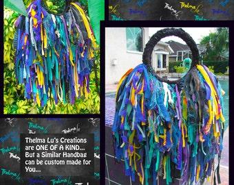 Hippie Fringe Handbag Custom Made, Ultra Fringe, One Of A Kind ,purse,Multi Bright Colored