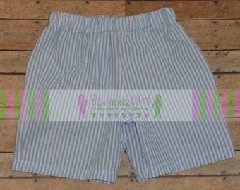 Blue White Seersucker Shorts for Boys or Girls 12 mo 18 mo 24 mo 3T 4 5 6 7 8