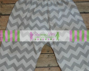 GREY CHEVRON Baby Pants with Optional Bow Tie or Headband Size 3 mos