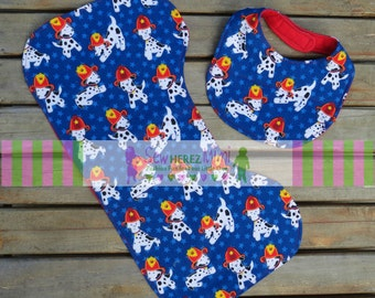 Firefighter Dalmatian Custom Unisex Boy or Girl Bib Burp Cloth Set