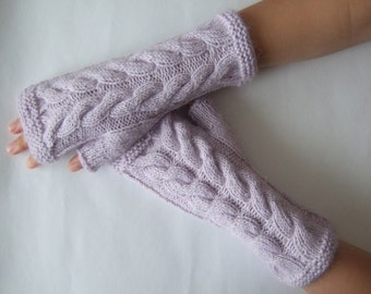 Knitted of  ANGORA, MOHAIR and wool. Light PURPLE fingerless gloves, wrist warmers, fingerless mittens. Handmade.