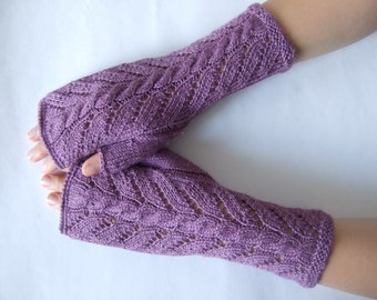 Knitted of SILK and super soft baby ALPACA wool. HEATHER fingerless gloves, wrist warmers, fingerless mittens. Handmade.Thin gloves. Cable.