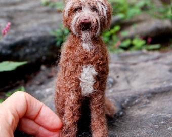 Custom Miniature Needle Felted Poodle - Pet Portrait Sculpture