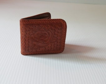 Vintage Hand Tooled Wallet with Rose