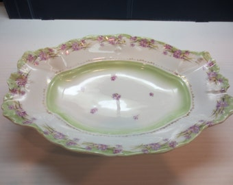 "Large Antique C.T. Carl Tielsch Germany Celery Asparagus Tray Dish 11 1/4"" long"