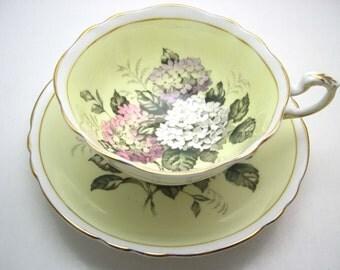 Yellow Paragon Tea cup And Saucer, Yellow Teacup Set with 3 colors of Lilac,  English tea cup set.