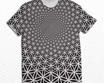 "Sacred Geometry ""Flower of Life Vortex"" Sublimation Tshirt"