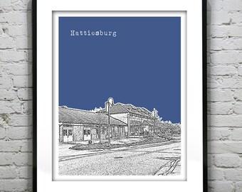 Hattiesburg Mississippi Skyline Poster Art Print MS