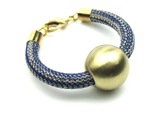 Climbing Cord Bracelet in Blue Rope and Gold Bead