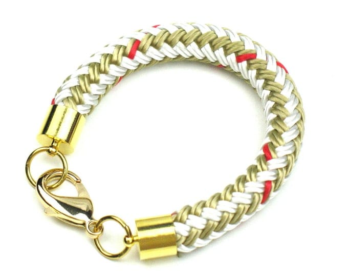 Rope Bracelet in Beige and Gold with Chunky Boating Cord