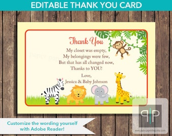 INSTANT DOWNLOAD Editable Jungle Baby Shower Thank You Card, Printable Jungle Thank You Card, Editable Safari Thank You Card, Baby Shower