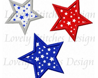 Three Stars Applique Machine Embroidery Design NO:0324