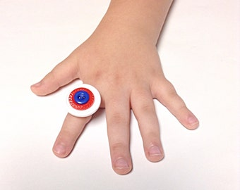Patriotic ring, American ring, Fourth of July ring, U.S.A. Ring, button ring, red, white, blue ring