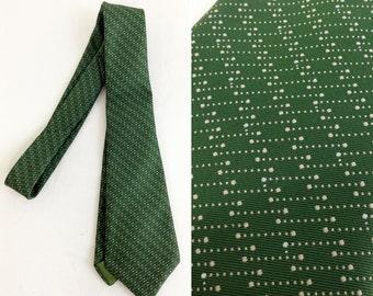 Vintage Green Geometric Pattern Polyester Tie
