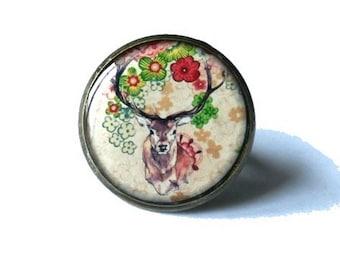 Deer RING - Deer Jewelry - Deer Accessories - faerie Jewelry - Wild Animal - Wildlife - Woodland Creature Forest - Deer Gift Idea - flowers