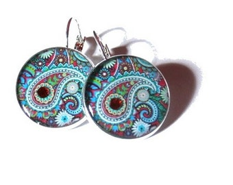 Paisley Earrings, Paisley Pattern, Blue BOHO Earrings, Bohemian Earrings, Hippie Earrings, Indian Pattern, Ethic Earrings, Tribal Earrings