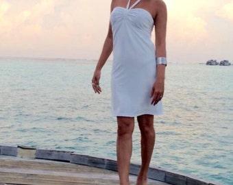 White Halter  short dress All size