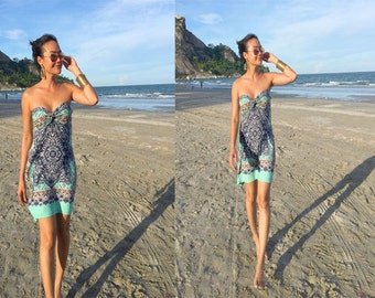 Turquoise Aqua printed strapless Short dress summer Beach dress