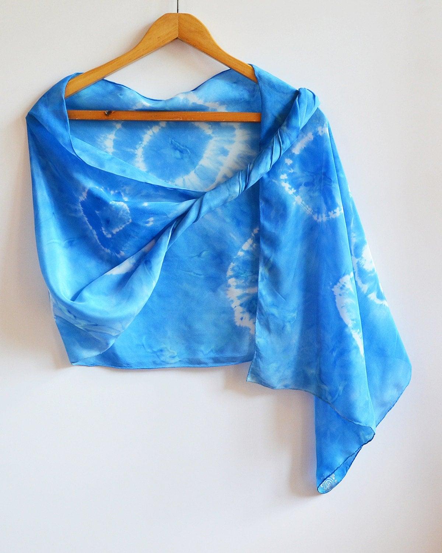 painted silk scarf blue shibori scarf by astasilkworld