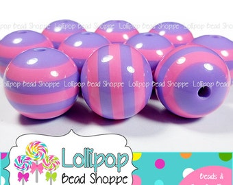 20mm PINK & PURPLE Stripe Beads Chunky Necklace Beads Striped Resin Round Stripes Plastic Bubblegum Beads Bubble Gum Beads Gumball SRB45