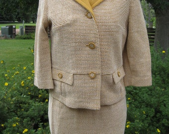 1970's Women's 3 Piece Knit Mustard Yellow Suit Button Jacket/Shell/Skirt Size S-M/ Retro Skirt Suit/ 70s Skirts/ 70s Jackets/Spring Skirts