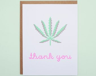 Thank You Pot Leaf Letterpress Card