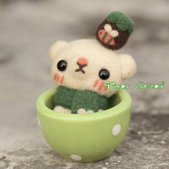 3.2'' Felt Wool Material Cup Animal, Bear, Bunny Rabbit