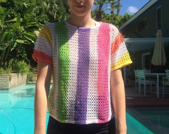 Netted Candy Striped Tee