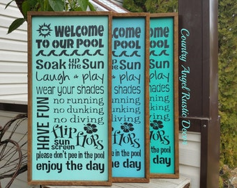 WELCOME to our POOL Rustic distressed Pool RULES wood sign, Outdoor Pool Sign, Deck Sign,swimming pool decor, Backyard sign, Pool rules sign