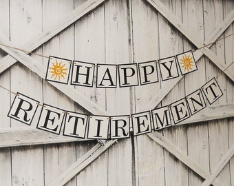 HAPPY RETIREMENT BANNER Choose Your Colors Custom Party Banner Retirement Sign Retirement Party