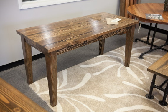 6 39 solid wood farmhouse table narrow farmhouse by emmorworks for Solid wood farmhouse table
