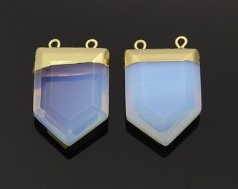 Opalite Faceted Pendant Gold Plated Two-Hole Pendant