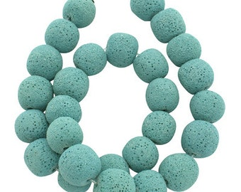 8mm Aqua Dyed Lava Volcanic Stone 16 Inch Strand. 44 Beads for Essential Oils and Mala Bead Bracelets and Necklaces
