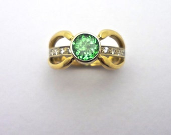 Tsavorite Garnet and Diamond Ring - Exclusive Design