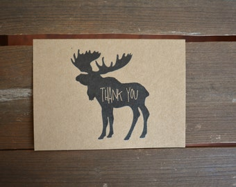Thank You Cards - Set of 5 Rustic Ink Moose Kraft Thank You Notes
