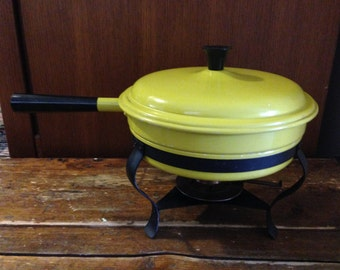 Vintage and Retro 1960's Yellow Chafing Dish/Fondu Pot