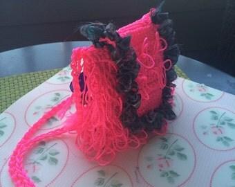 Neon pink crochet crossbody bag