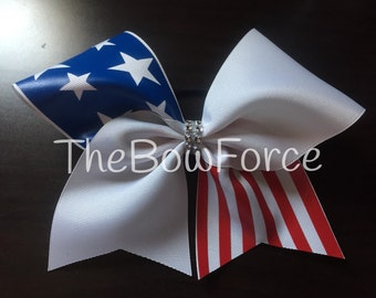 Stars and Stripes Tic Tock Cheer Bow - #238539546